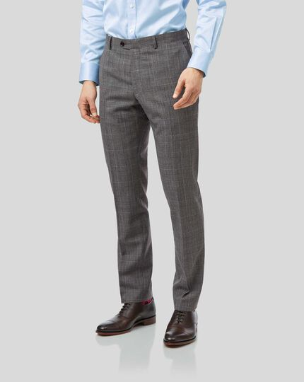 Prince Of Wales Check Business Suit Trousers - Grey