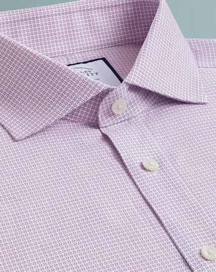 Cutaway Textured Puppytooth Shirt - Pink
