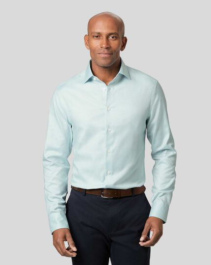 Business Casual Collar Non-Iron Stretch Texture Shirt - Green