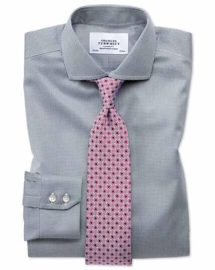 Extra slim fit spread collar non-iron puppytooth dark grey shirt