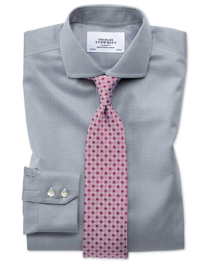 Extra slim fit cutaway non-iron puppytooth dark grey shirt