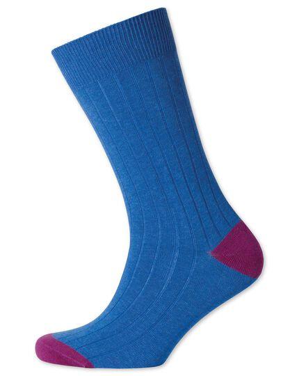 Blue rib socks