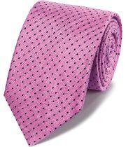 Pink linen silk spot classic tie
