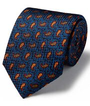 Royal blue and yellow silk printed paisley English luxury tie