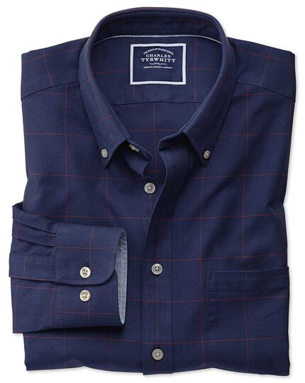 d550ac17bb0 Classic fit navy and red check washed Oxford shirt