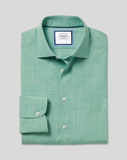 Business Casual Collar Slub Shirt - Green