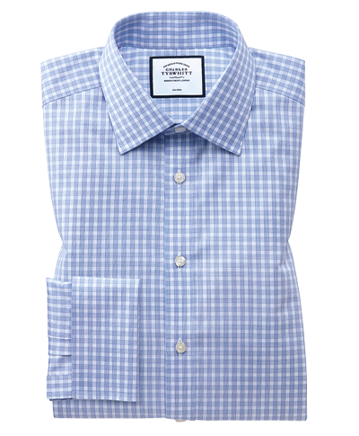 Classic fit non-iron twill gingham sky blue shirt
