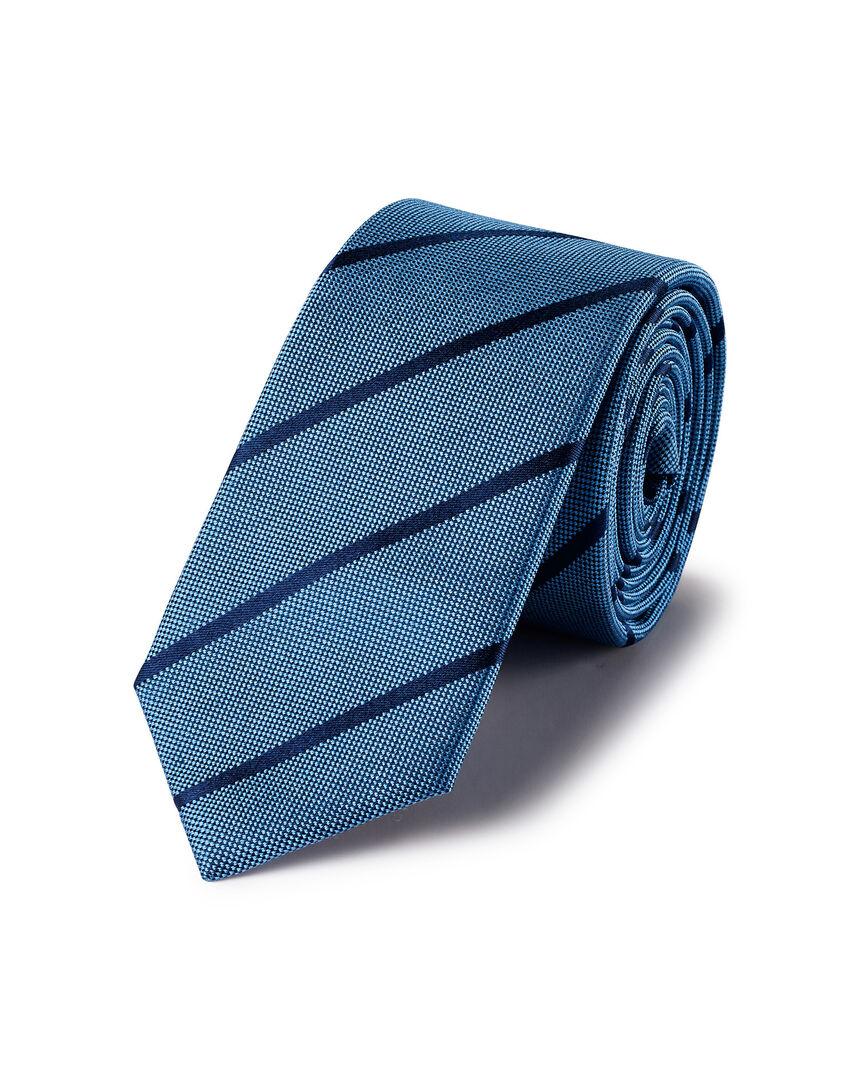 Schmale Krawatte aus Seide mit Streifen - Blau & Marineblau