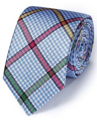 Sky multi silk multi check English luxury tie