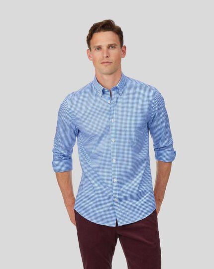 Chemise en popeline stretch soft washed bleu ciel à carreaux vichy extra slim fit sans repassage