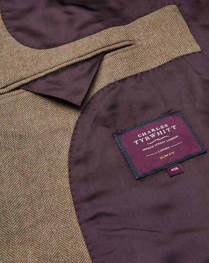 Veste en laine et cachemire anglais brun clair à chevrons slim fit