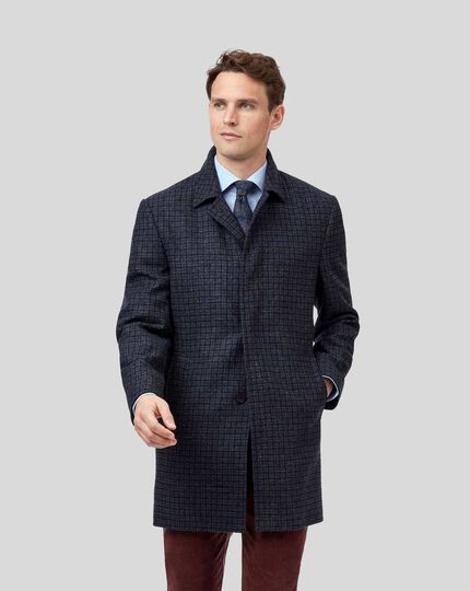Dogstooth Wool Coat - Grey & Blue