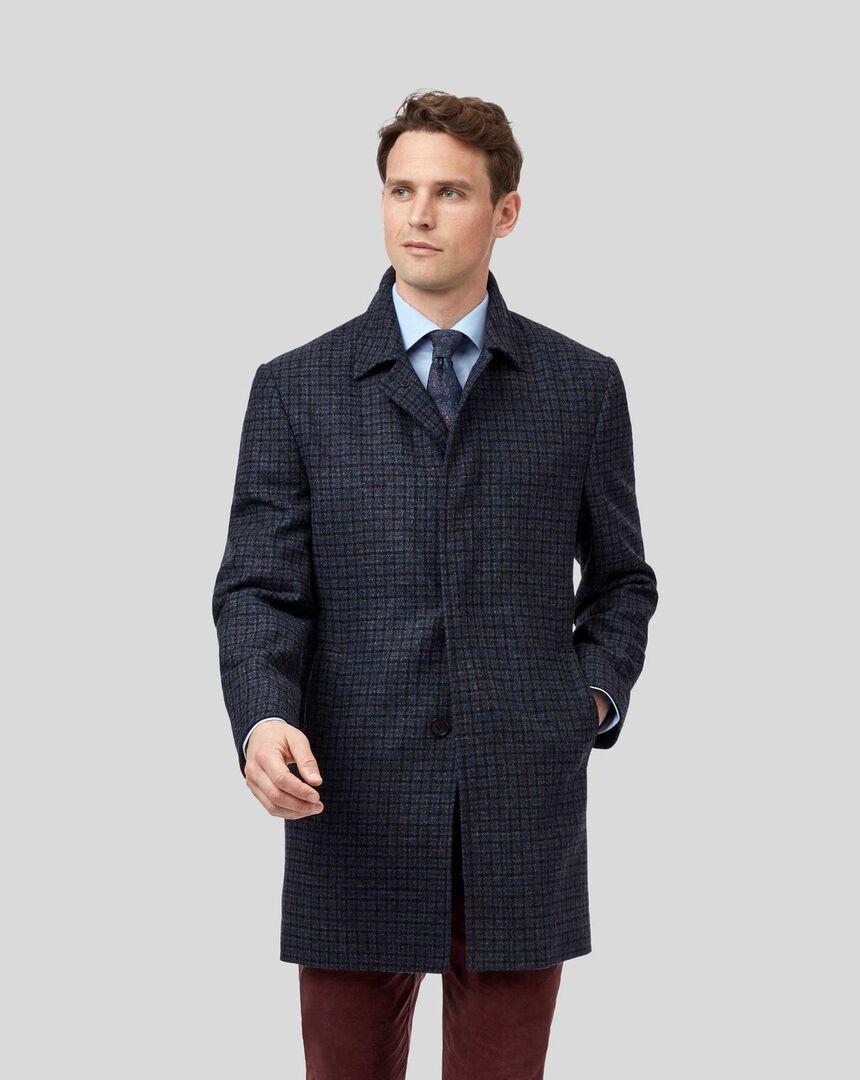 Car Coat aus Wolle mit Hahnentritt - Grau & Blau