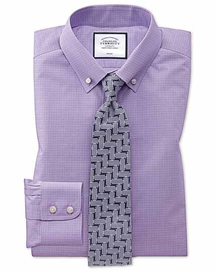 Bügelfreies Classic Fit Button-down Popelinehemd mit Prince-of-Wales-Karos in Lila