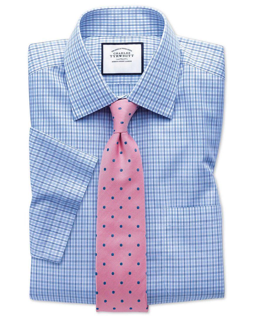 Slim fit non-iron poplin short sleeve blue and sky blue shirt