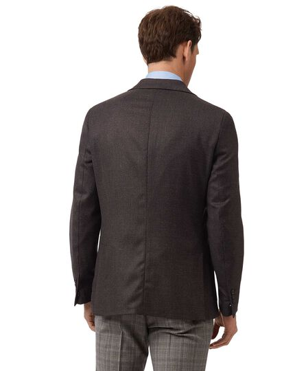 Slim fit dark brown Italian wool and cashmere jacket