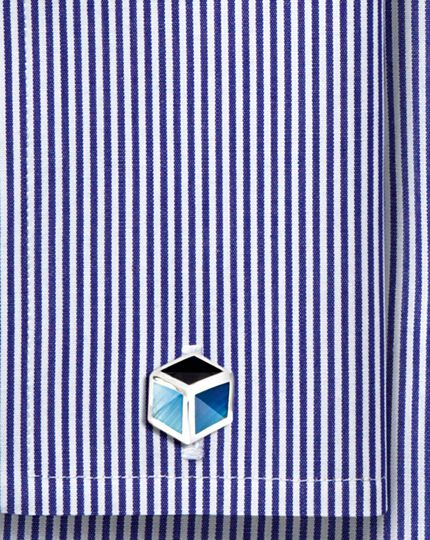 Emaille-Manschettenknöpfe mit Ton-in-Ton-Würfeldesign in Blau