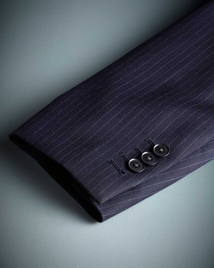Blue slim fit twill stripe business suit jacket