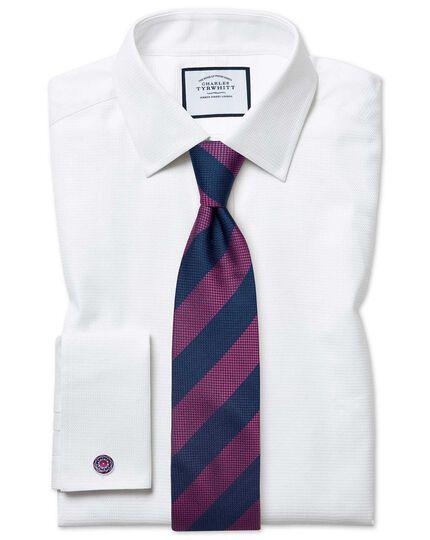 Magenta silk multi textured stripe classic tie