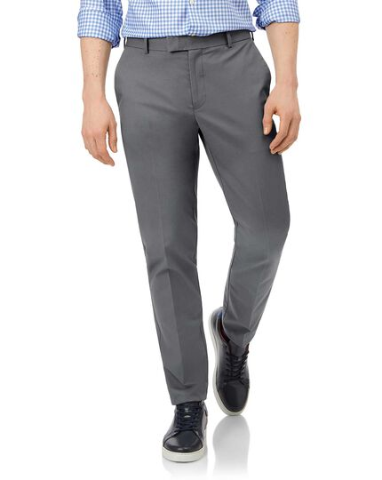 Grey flat front non-iron chinos