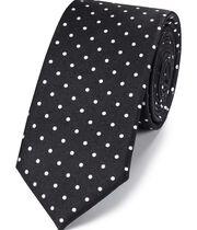 Schmale klassische Krawatte aus Seide mit Punkten in Schwarz und Weiß
