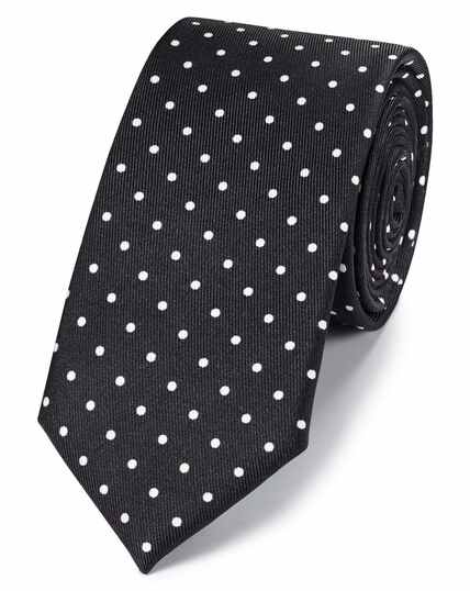 Black and white silk slim printed spot classic tie
