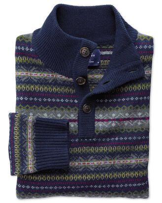 Navy multi fairisle button neck sweater