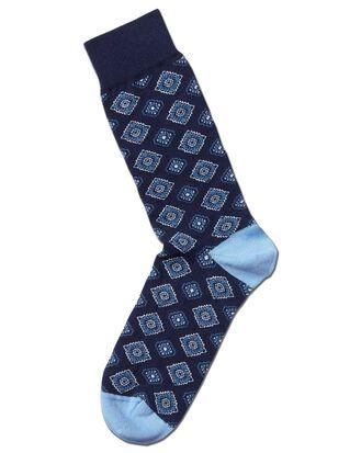Navy tie motif socks