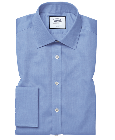 Extra slim fit non-iron blue royal Panama shirt