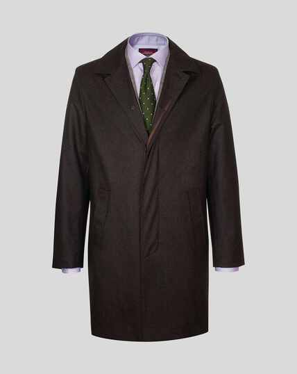 Italian Wool Raincoat - Brown