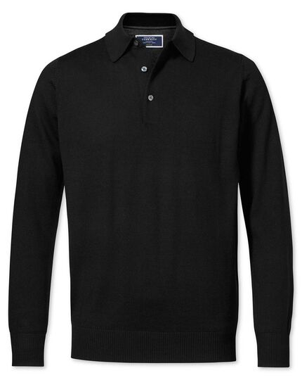 Black merino wool polo neck sweater