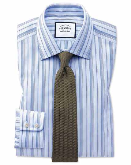 Chemise bleu ciel à rayures multicolores en coton égyptien coupe droite