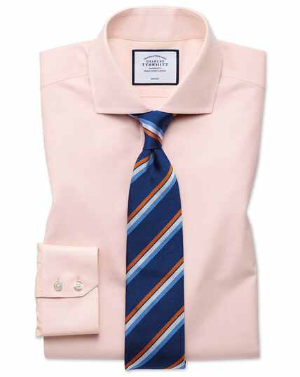 Classic fit non-iron Tyrwhitt Cool poplin peach shirt