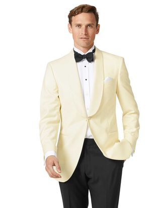 Cream slim fit shawl collar tuxedo suit