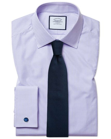 Extra slim fit small gingham lilac shirt