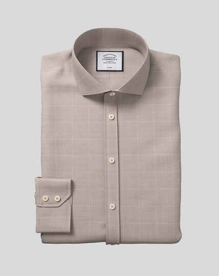 Spread Collar Non-Iron Cotton with TENCEL™ x REFIBRA™ Check Shirt - Taupe