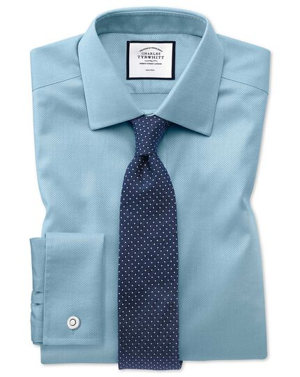 Extra slim fit non-iron teal triangle weave shirt