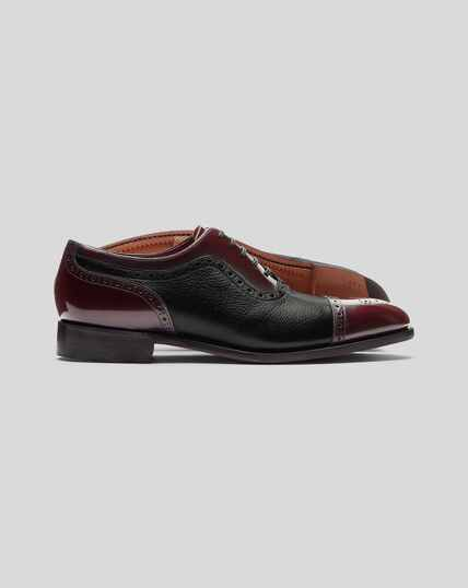 Made in England Oxford Brogue Flex Sole Shoes - Black & Burgundy