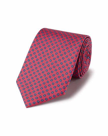 Krawatte aus Seide mit geometrischem Muster - Dunkles Rosa & Marineblau