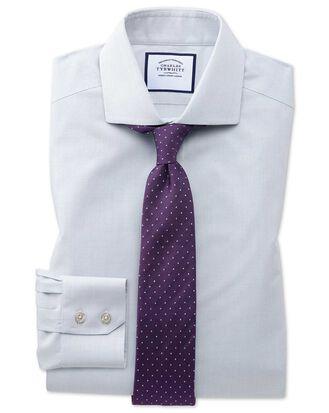 Chemise grise pied-de-poule à col cutaway slim fit sans repassage