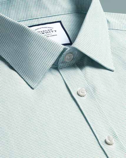 Super slim fit non-iron dash weave green shirt