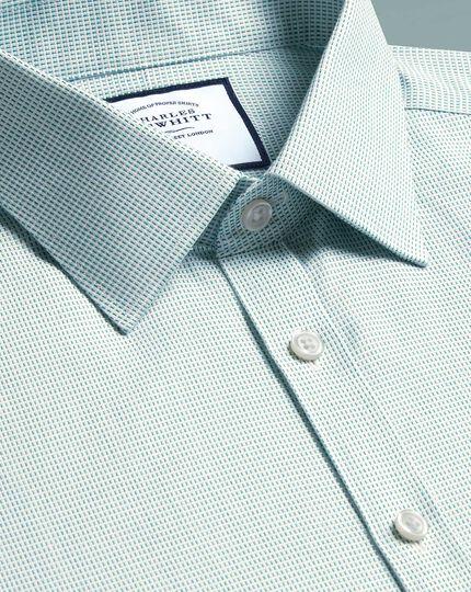 Super slim fit non-iron dash weave green shirt