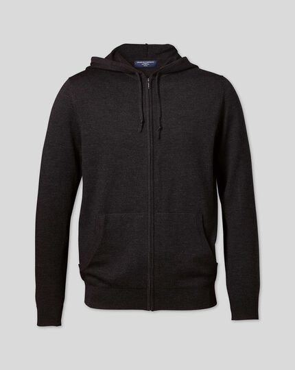 Merino Zip Through Hoodie - Dark Charcoal