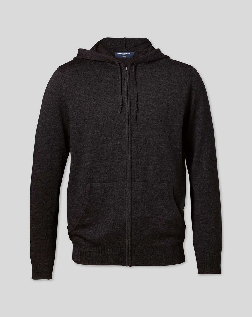 Merino Hooded Zip Through Sweater - Dark Charcoal