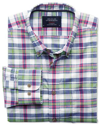 Classic fit poplin pink and green check shirt