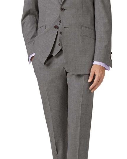 Silver slim fit cross hatch weave italian suit jacket
