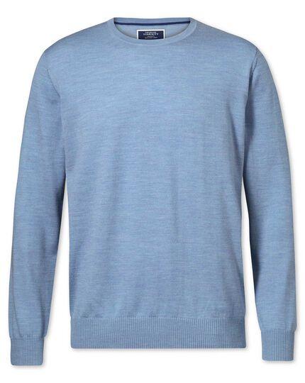 Sky merino wool crew neck jumper