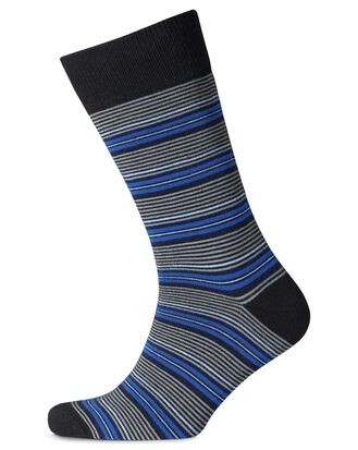 Blue and grey stripe socks