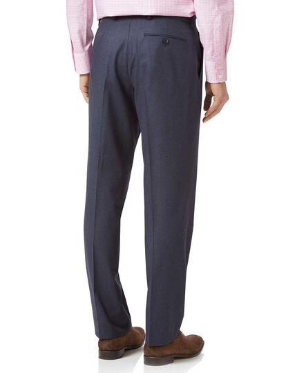 Airforce blue classic fit flannel business suit trousers