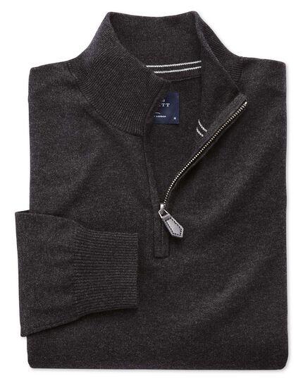 Charcoal cotton cashmere zip neck jumper
